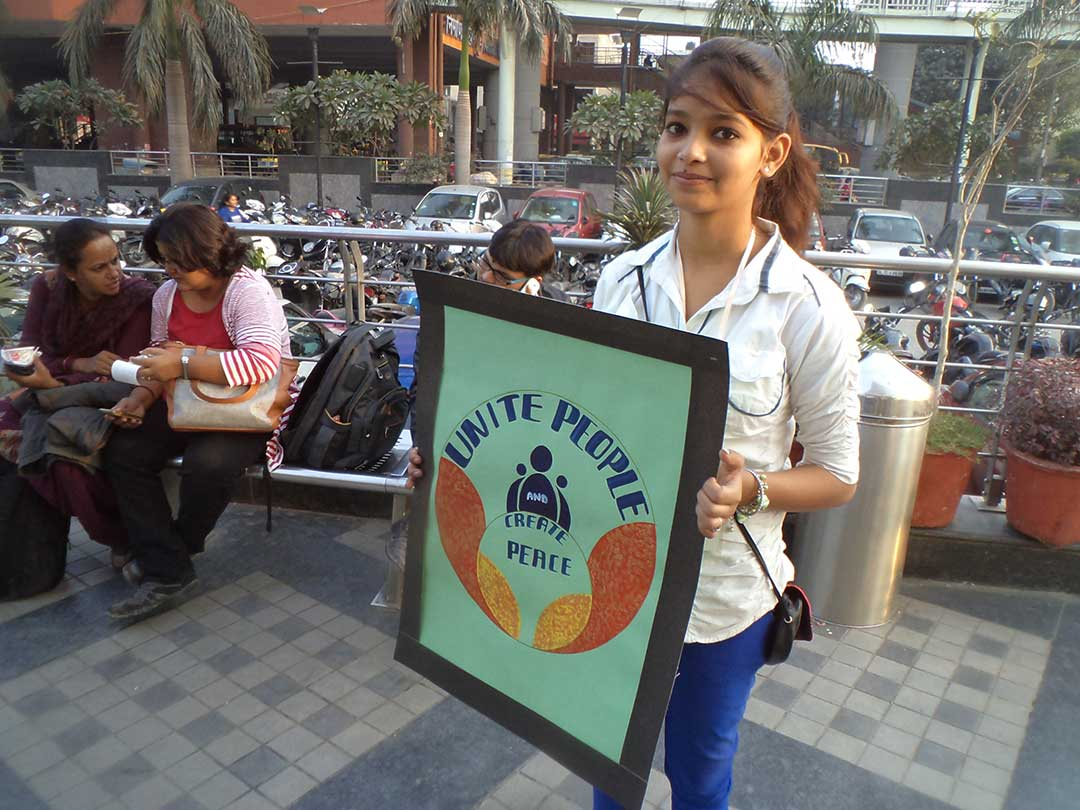 Peace Campaign by East Delhi YPF Team at V3S Mall Nirman Vihar