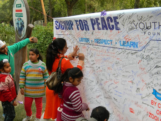 YPF Sign for Peace at Kanpur Zoo (7)
